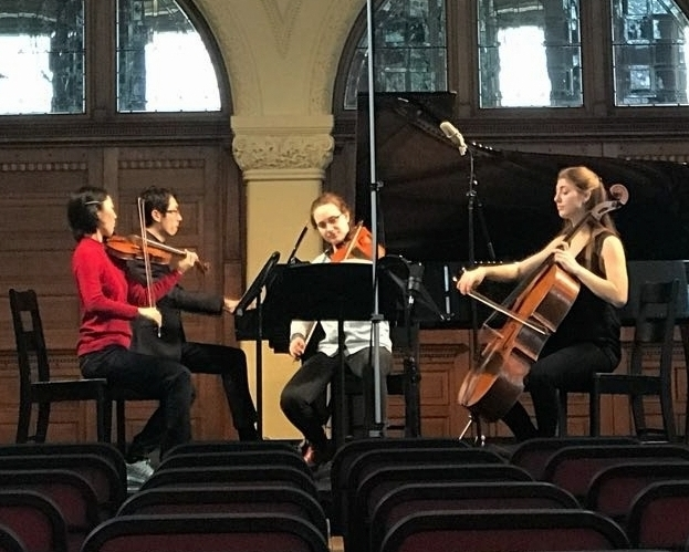 Above: Arisa Ikeda (BMus Year 3, Violin) performing Beethoven's Piano Quartet in E-flat, Op. 60 at the Redpath Hall.