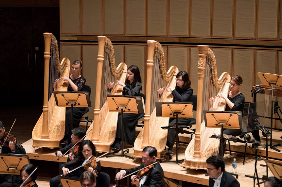 Charmaine, second from left, playing alongside her harp major teacher Gulnara Mashurova in the Singapore Symphony Orchestra.  Photo credit: Singapore Symphony Orchestra