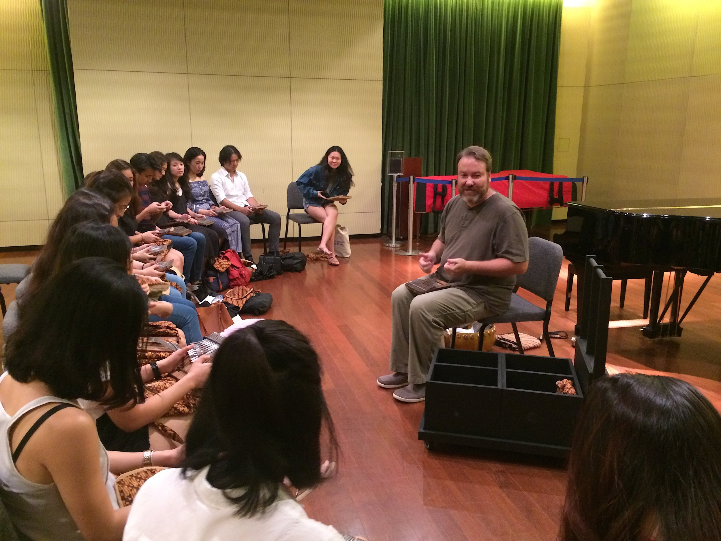 Assoc Prof Ty Constant introduces students to the African mbira dzavadzimu