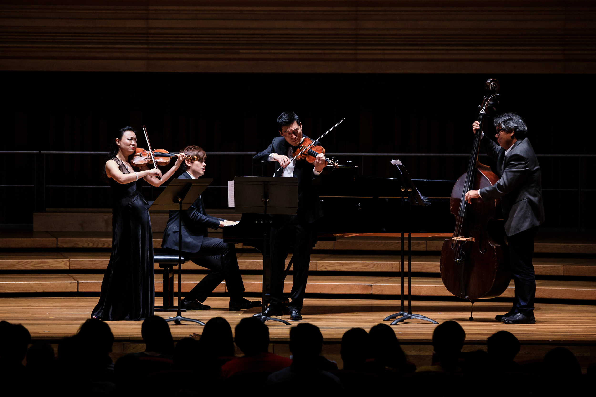 Head of Strings Prof Qian Zhou (left) in a quartet with (from right) Assoc Prof Tony Makarome, Du Rui ('08, Violin) and Gabriel Hoe (Year 4, Piano).