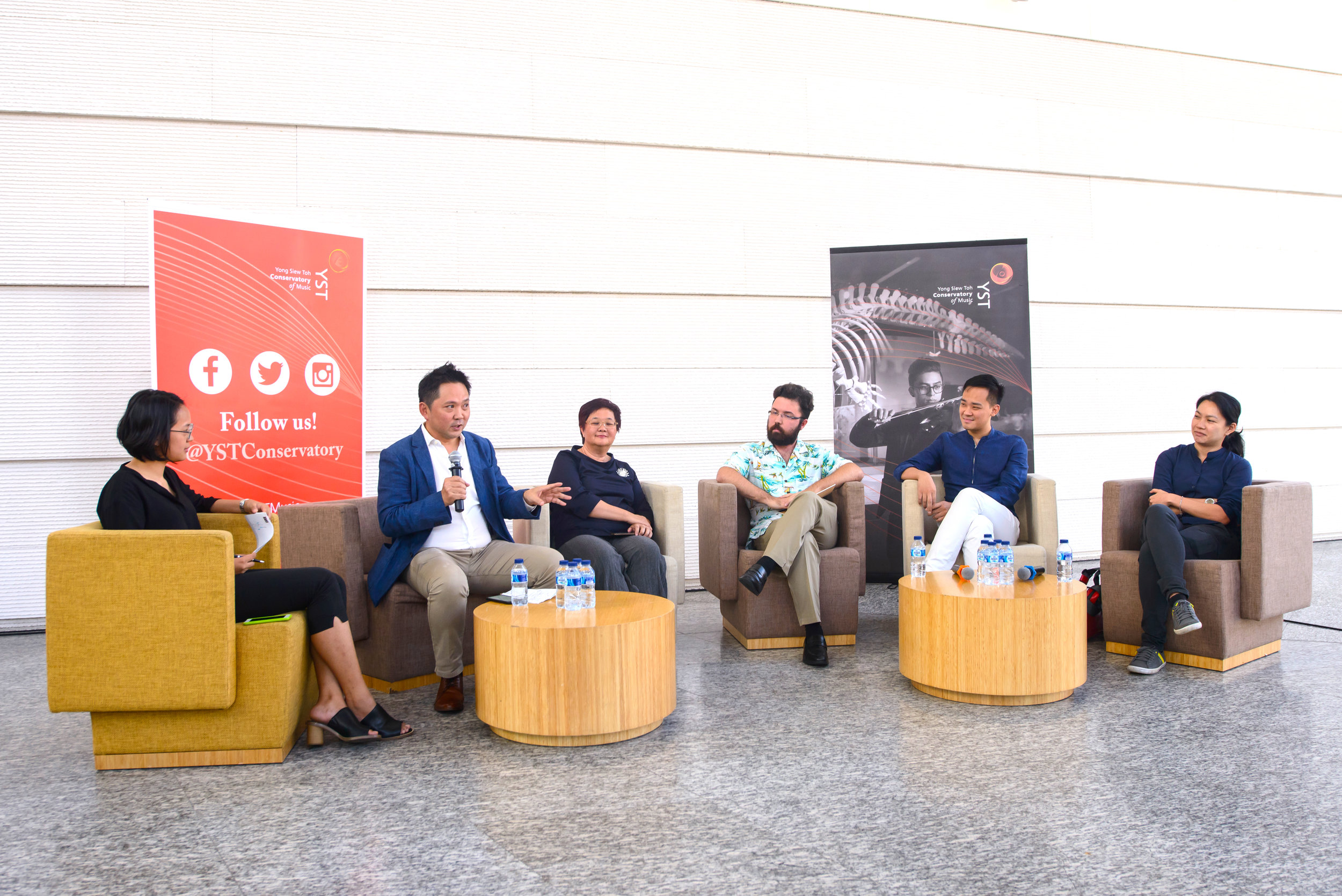 One of the  Voyage  panel discussions featured speakers (from right) Christel Hon, Darius Lim, Lawrence Holmefjord-Sarabi, Mrs Rebecca Chew and Dr Sydney Tan. The session examined Singapore's creative landscape and was moderated by Stasha Wong ('18, RAS) (left).