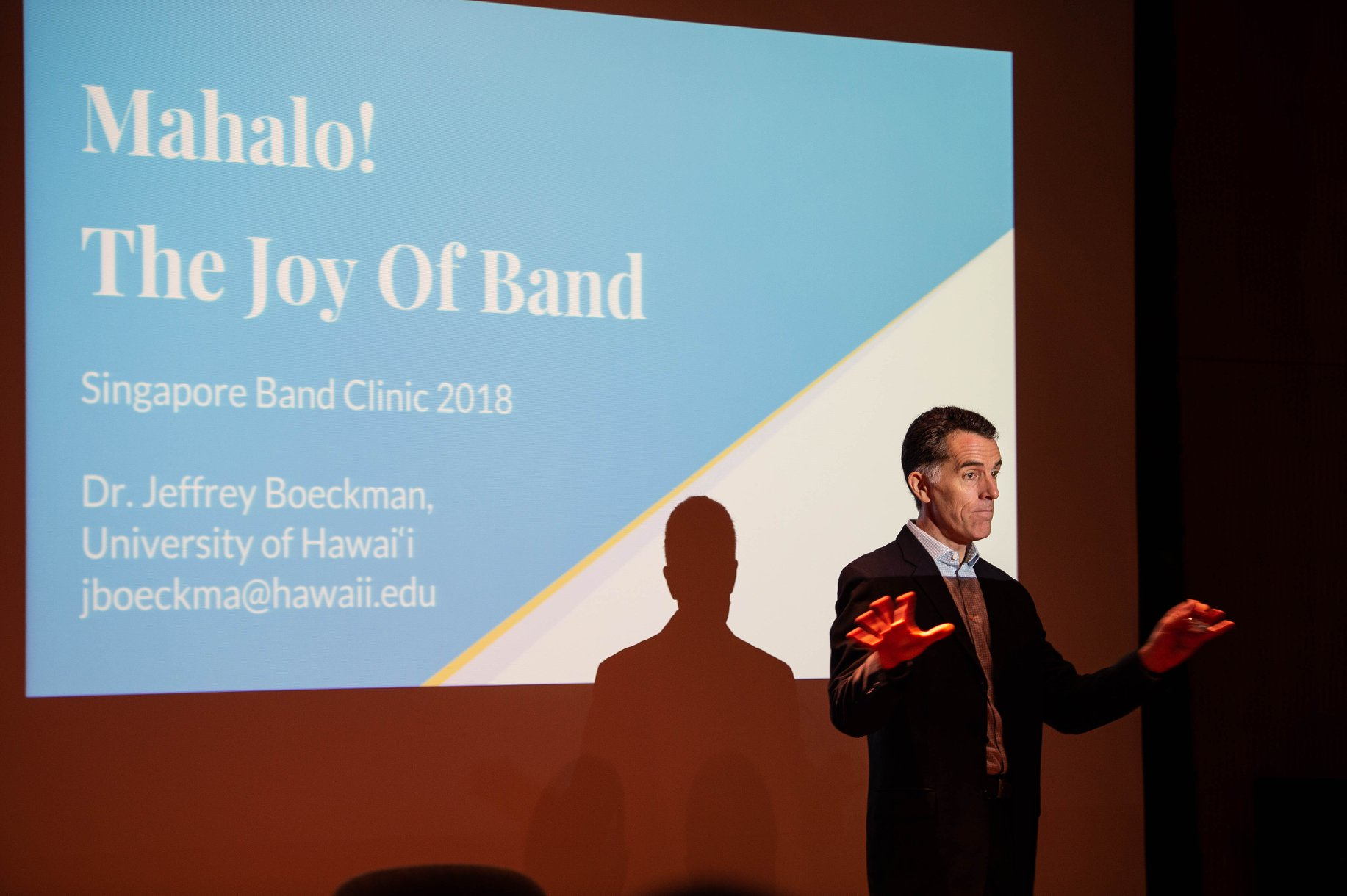 Conductor and educator Dr Jeffrey Boeckman was a keynote presenter at the Singapore Band Clinic. He also made a guest appearance to conduct the debut of the YST Wind Consort.