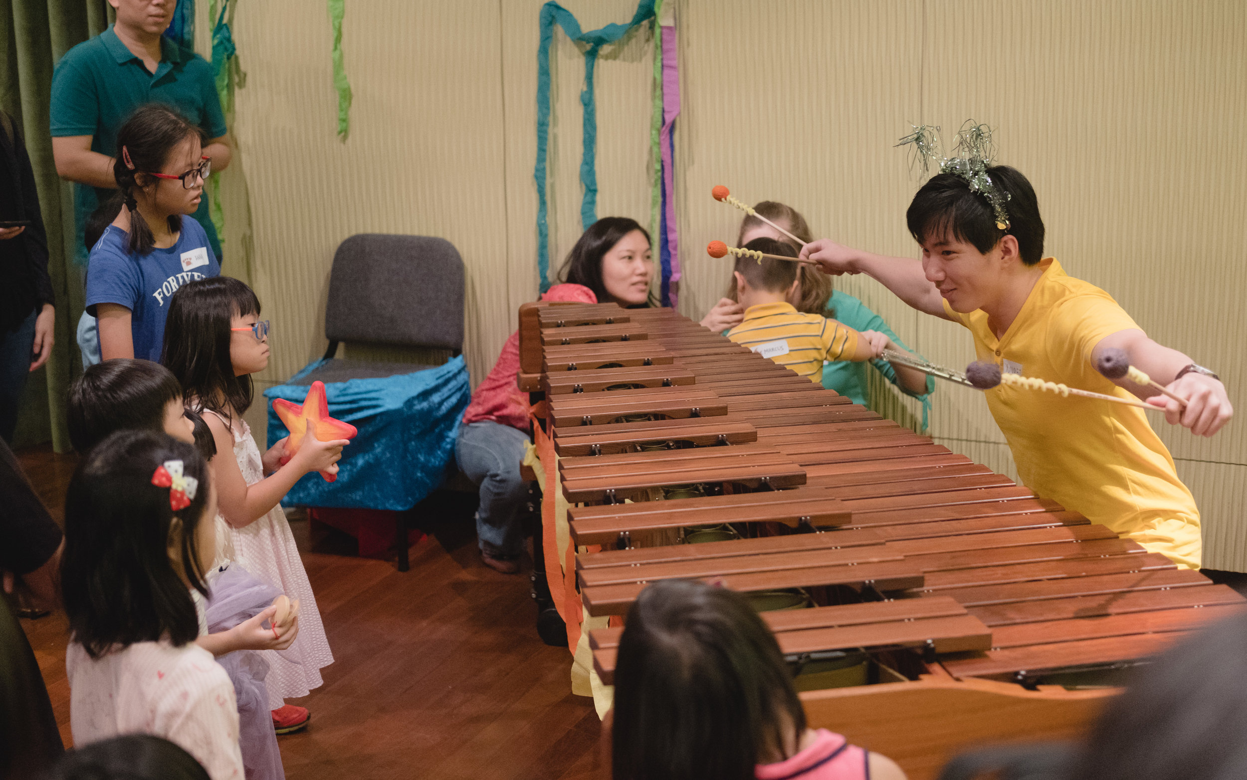 Participants were led through an underwater adventure, making friends with sea creature characters who each had an associated musical instrument, played by our students.