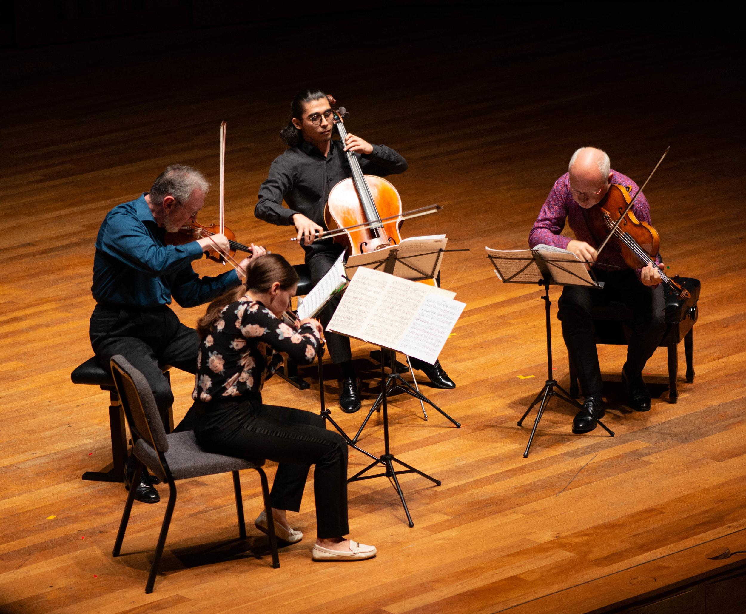 Jamshid playing with the Juilliard Quartet.