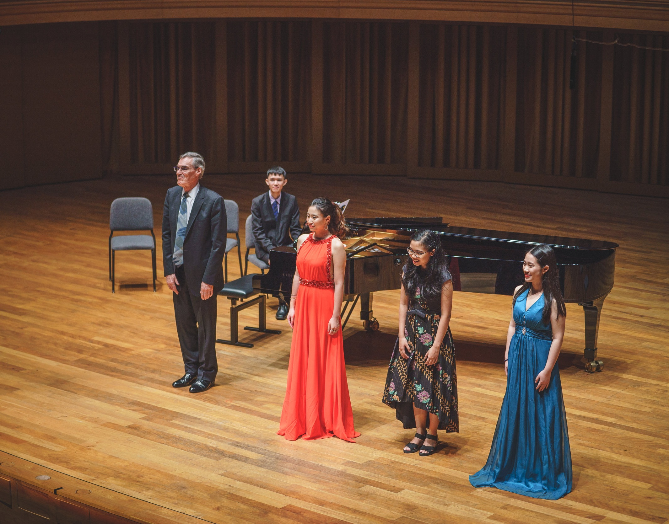 Maggie in performance with Ong Teng Cheong Professors of Music, Masaaki Suzuki and Roger Vignoles.