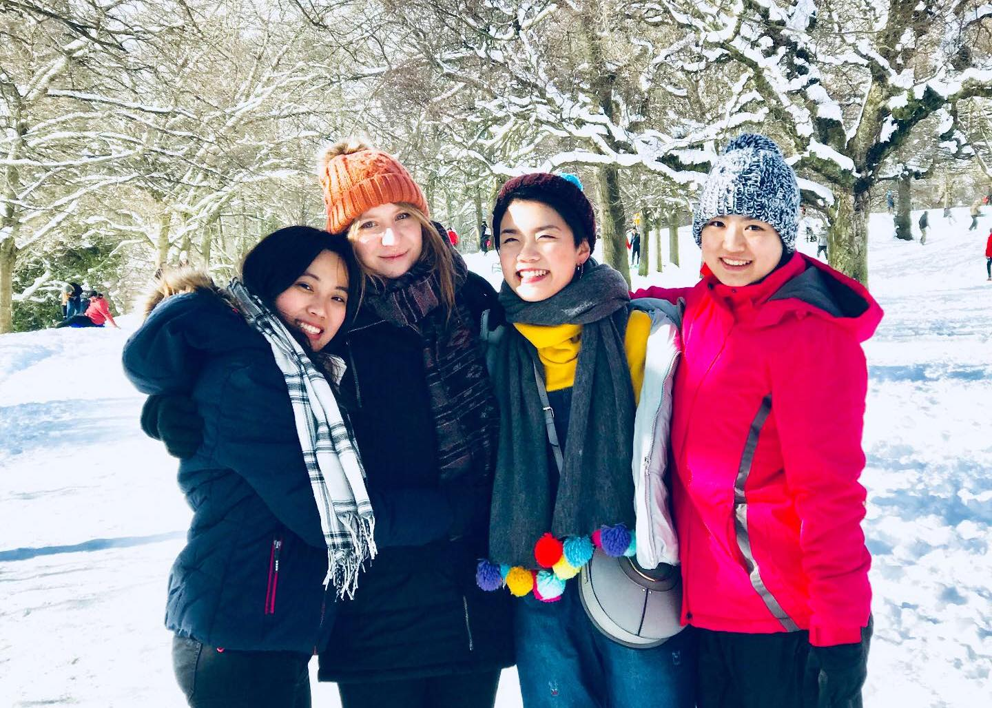 Xiangning (third from left) and peers, while on exchange in Scotland.