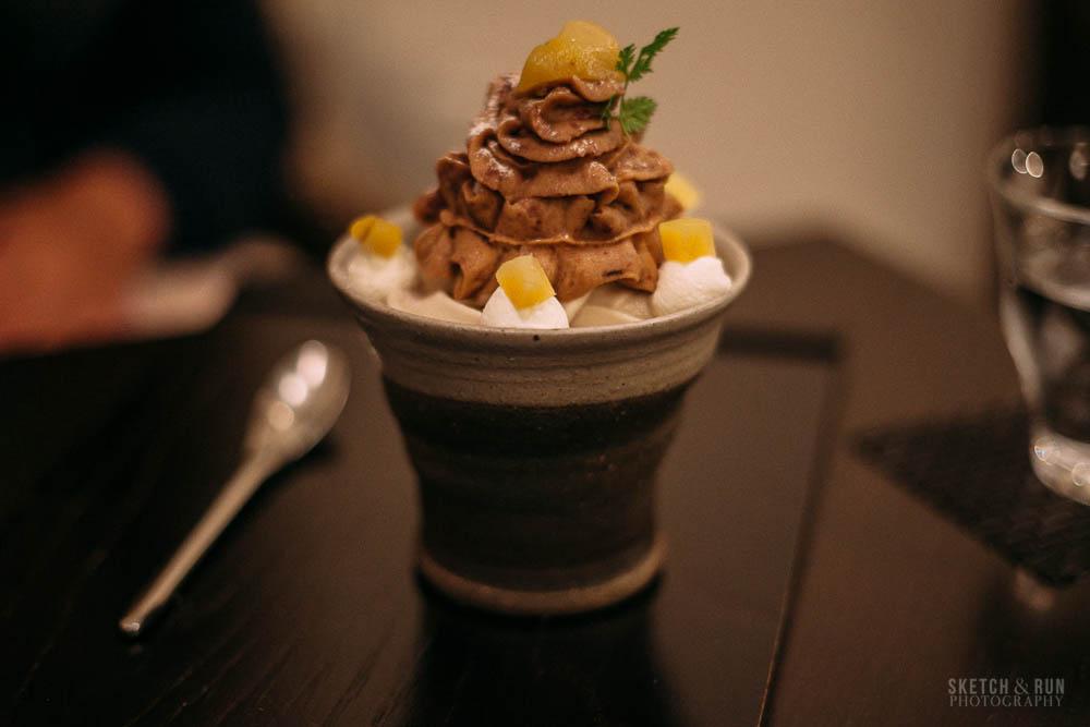 waguriya, dessert, japan, tokyo, yanaka ginza, traditional, sweet, sketch and run, parfait, chestnut, food, food phtoography
