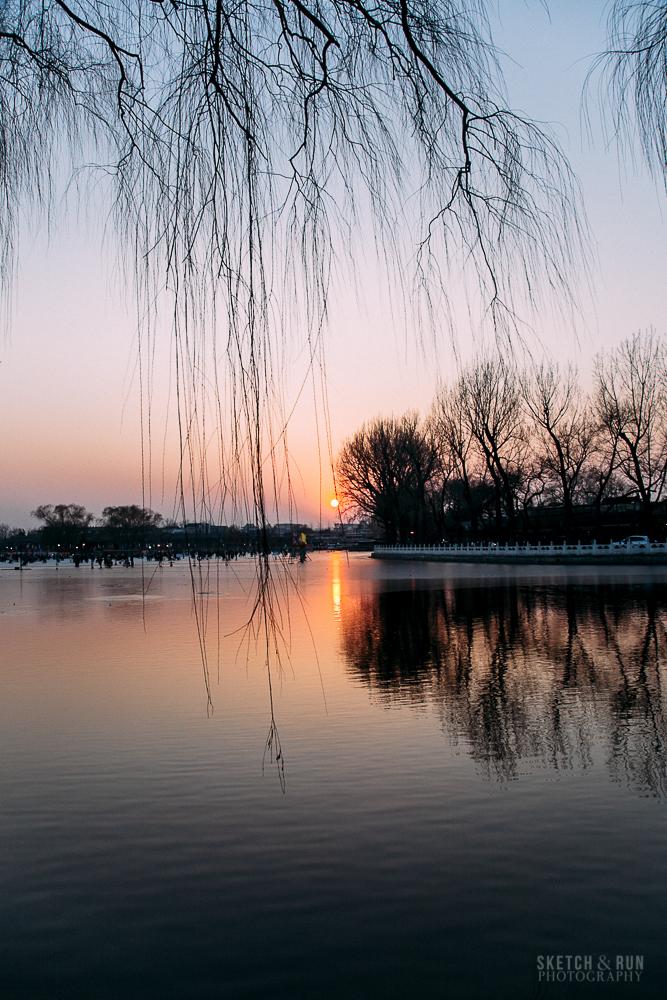 houhai, beijing, china, travel, sketch and run, landscape, sunset
