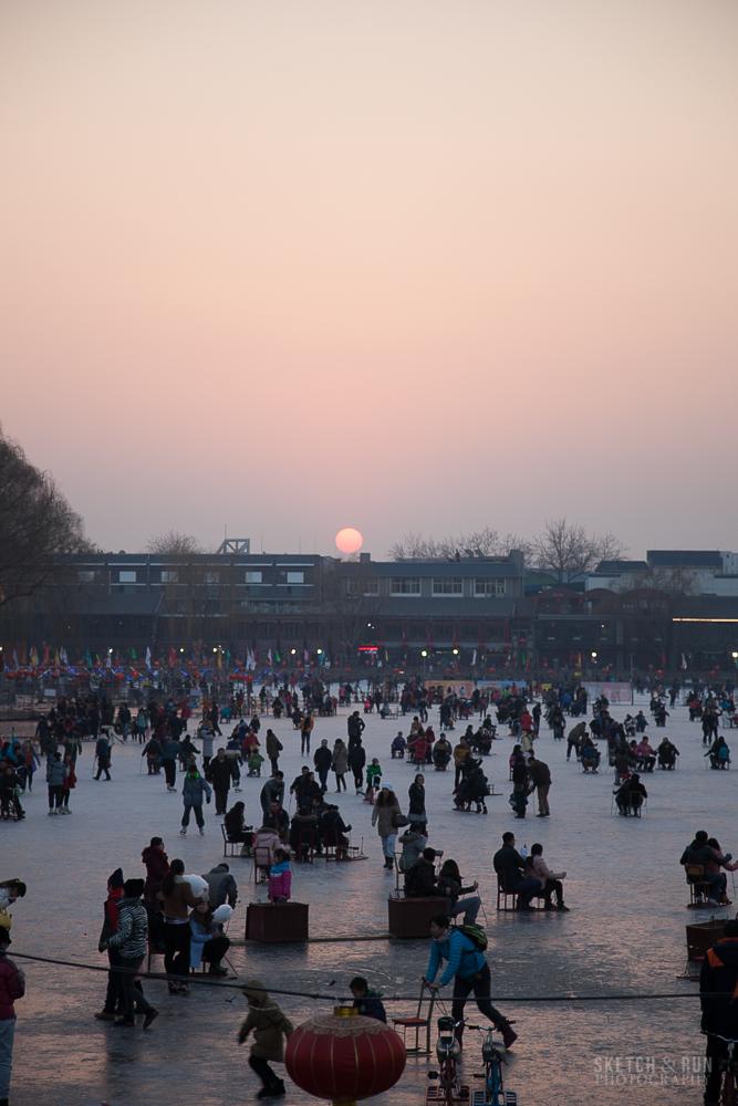 houhai, beijing, china, travel, sketch and run, sunset, ice rink
