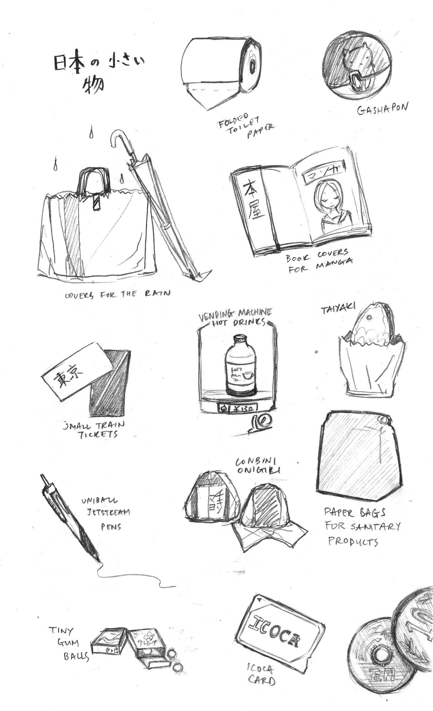 japan, tokyo, small things, art, illustration, tickets, manga cover, taiyaki, onigiri, pens, sketch and run