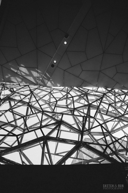 national gallery of victoria, architecture, lattice, atrium, ian potter center