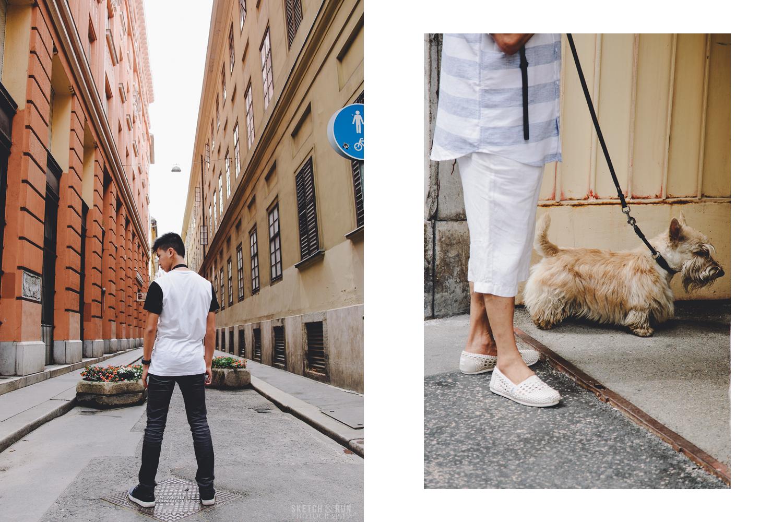 Street photography, small dog, dog, alleyway, dramatic posing