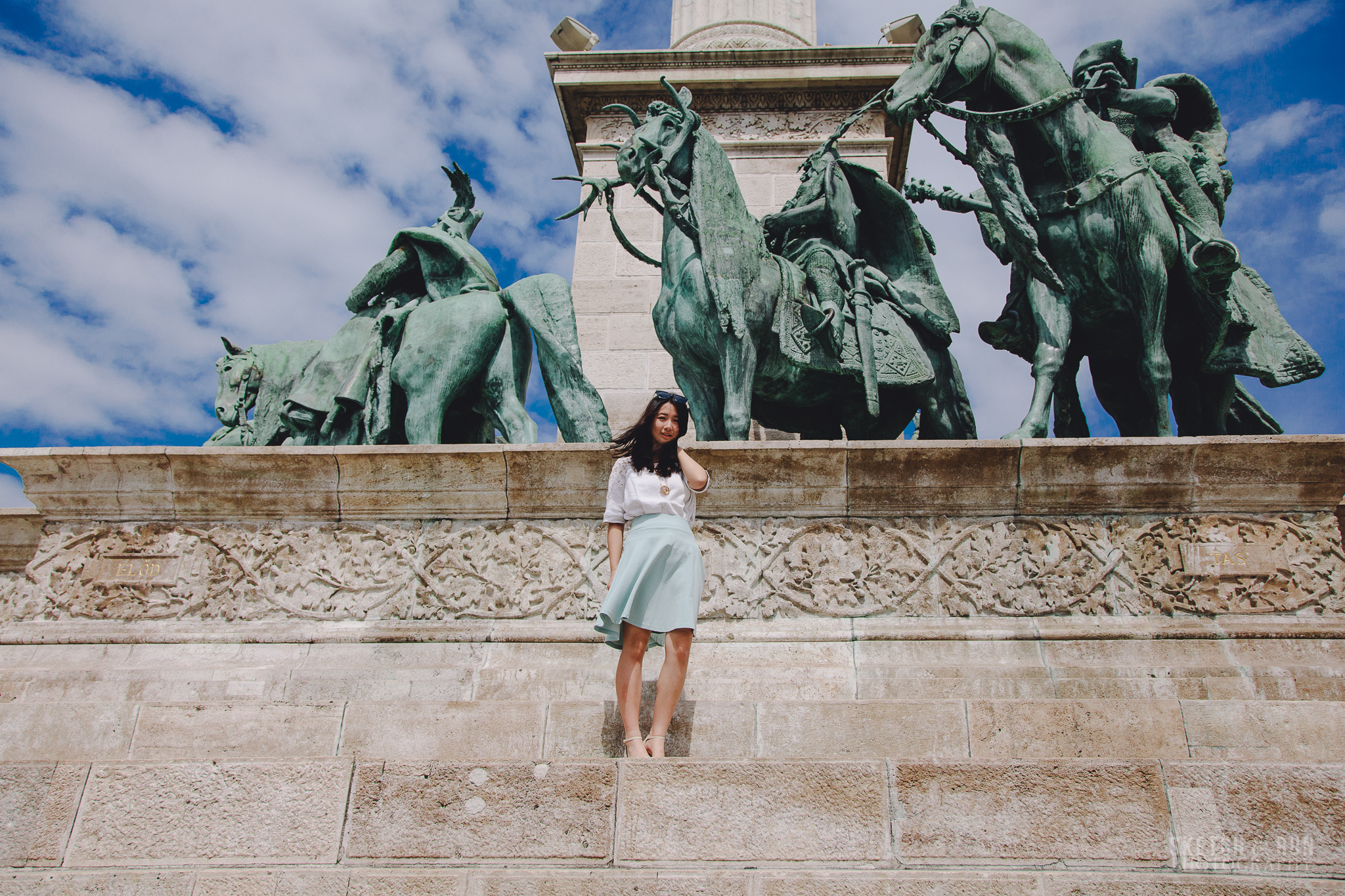 Heroes Square, Budapest, Hungary, travel photography, self portrait