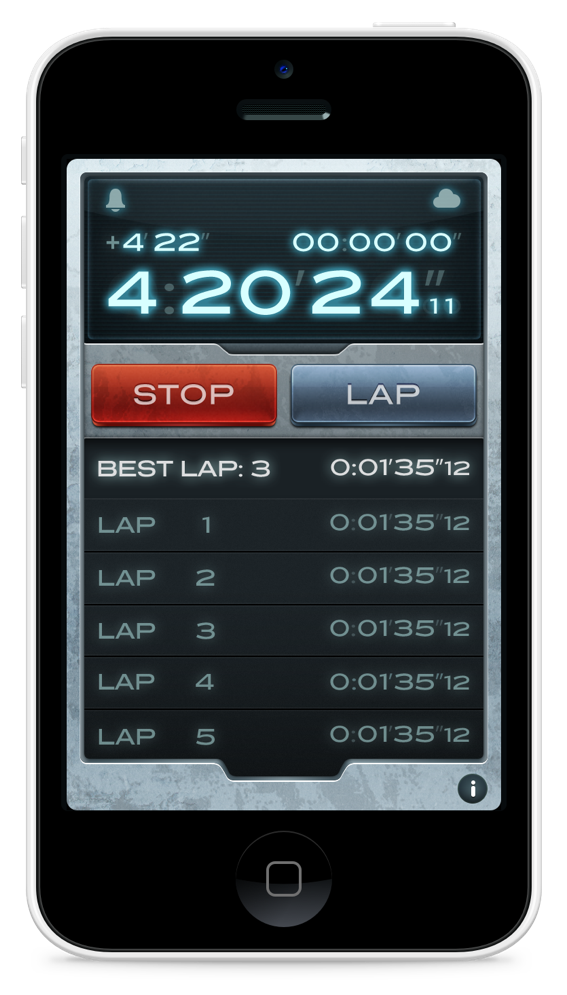 Stopwatch Theme  - Back in 2010, we got some feedback from our users that NightStand was lacking the stopwatch functionality. Being a visual designer at the time, I was tasked with creating a realistic stopwatch theme for NightStand.This was the time when skeuomorphism roamed wild and free, his research included both physical and digital stopwatches. The two major features provided in a stopwatch are the start-stop and the lap functionality. The visual design was inspired by a tactile, metallic device with an LCD screen — which is consistent with our existing LCD theme.