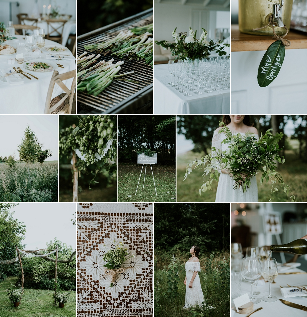nature inspired green and white mood board for a simple organic timeless wedding day design