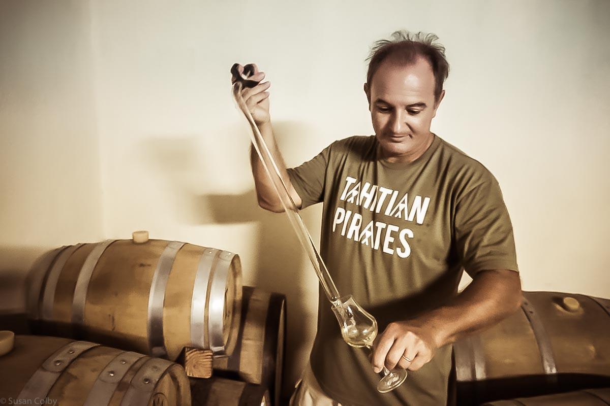 Laurent Masseron pulls a taste of the Paille Rhum Agricole