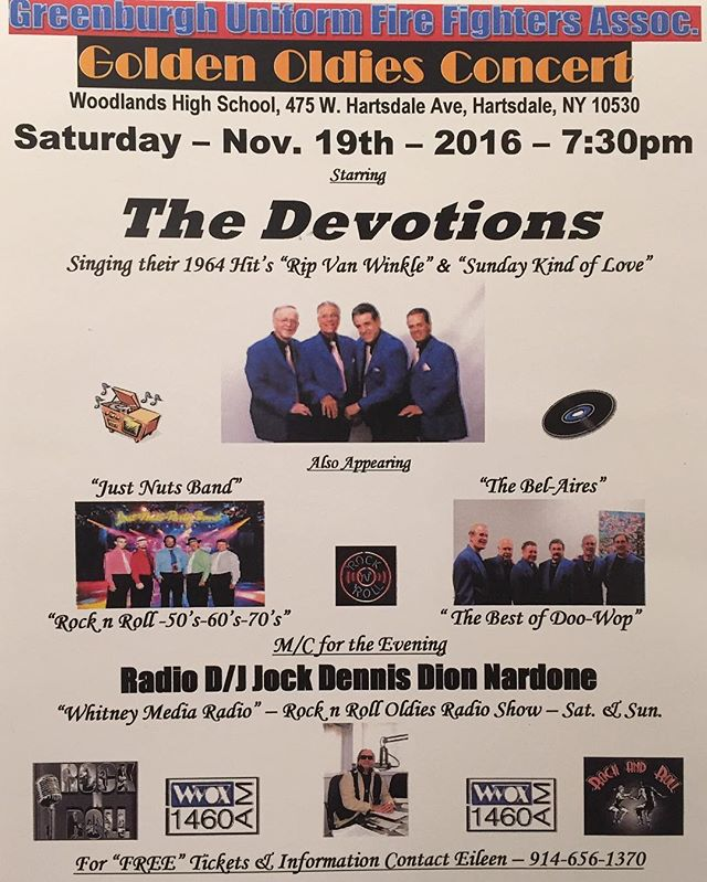 Our Oldies Concert is always a great time. For more information & tickets please contact 914-656-1370. Tickets are $15 in advance & at the door. Light refreshments will be available for purchase the night of the show.  #GreenburghFirefighters #Greenburgh #Fairview #Hartsdale #Greenville #Edgemont #OldiesShow