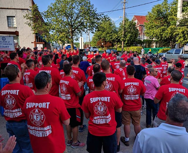 Greenburgh Firefighters along with brothers and sisters from all over the Tri-State area and International standing in solidarity with Port Chester Professional Firefighters.  #SupportProfessionalFirefighters #IAFF #NYSPFFA #GreenburghFirefighters #PortChester
