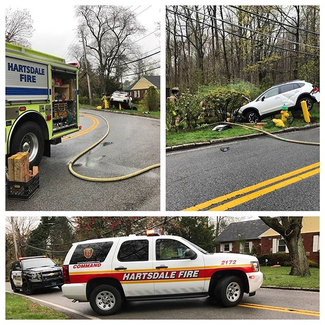 Members operating at a single vehicle accident in Hartsdale this morning at the Dalewood Dr. / Pinewood Rd. Bend. #greenburghfirefighters #hartsdalefire #iaff #nyspffa #greenburghpolice