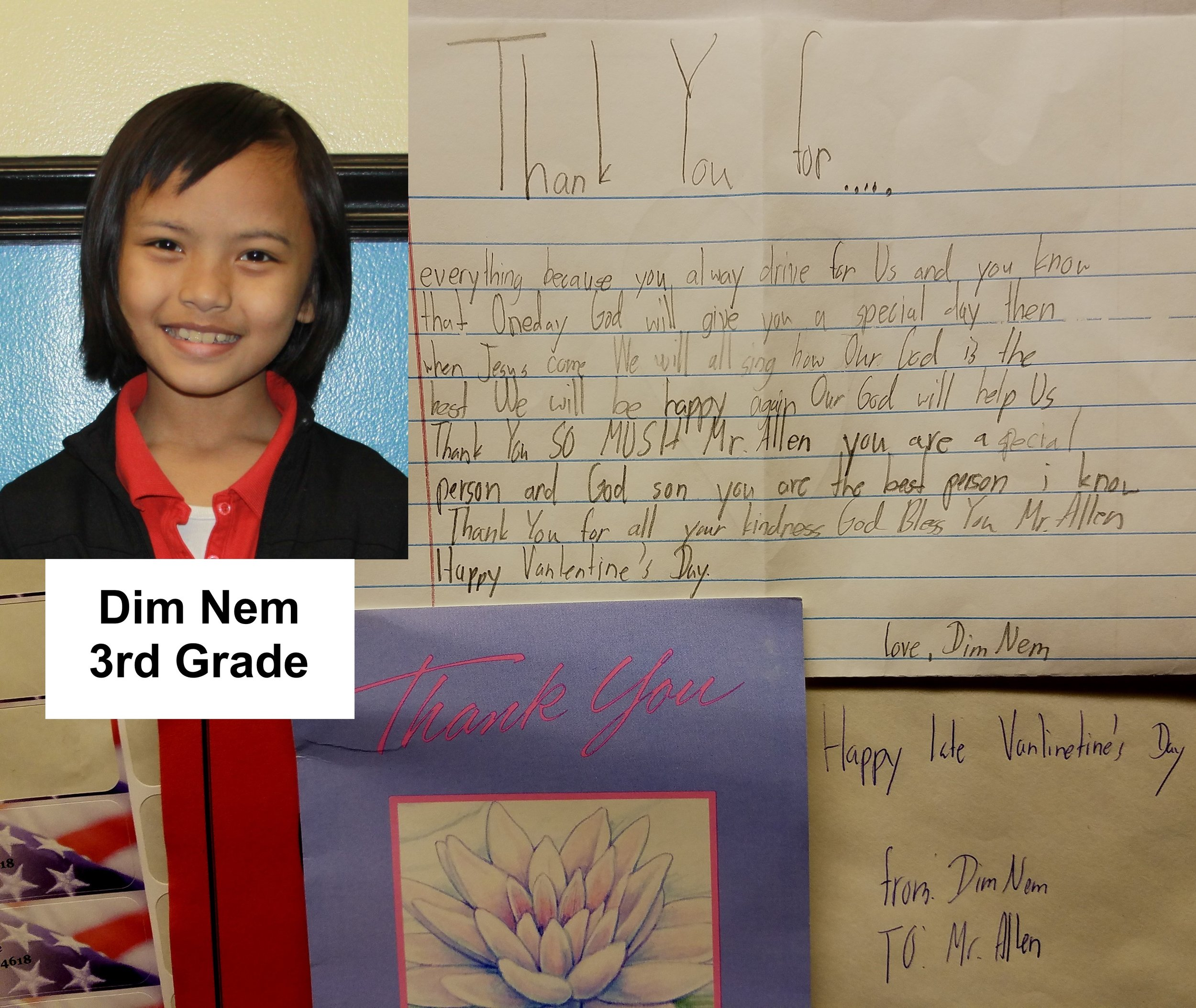 The joy one feels from gratitude shown is overwhelming. Above a Valentines Day card and note received from a young Zomi refugee child, a benefactor of F.R.E.E.'s ongoing christian education program.