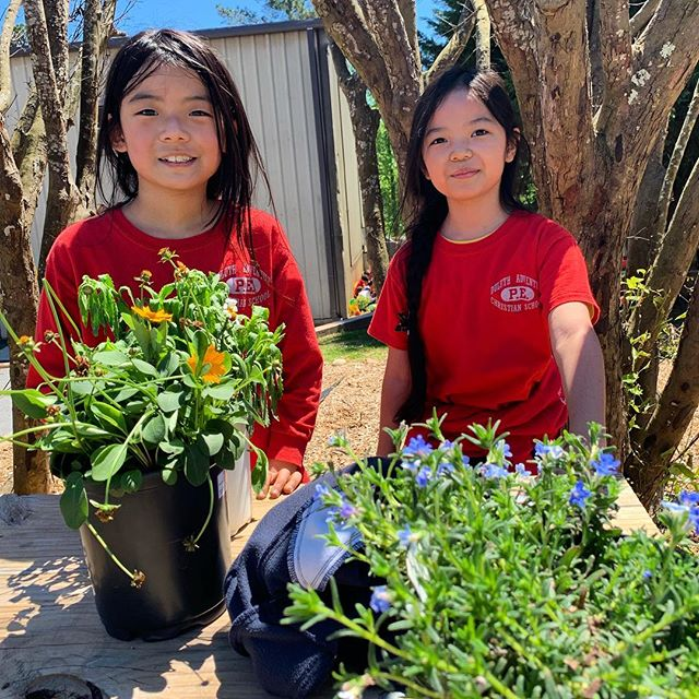 Happy Earth Day 🌎 Happy earth day!!! We celebrated by planting some fresh flowers around our school campus.  PS. Victoria Ko (pictured on right of the left photo) is a 3rd grade student available for sponsorship! Visit the link in bio!