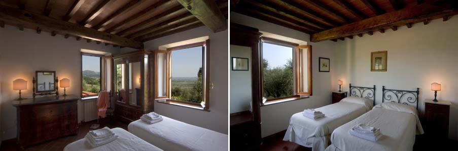 Ogni stanza è diversa, le finestre si affacciano sugli uliveti o sui boschi e le colline circostanti...