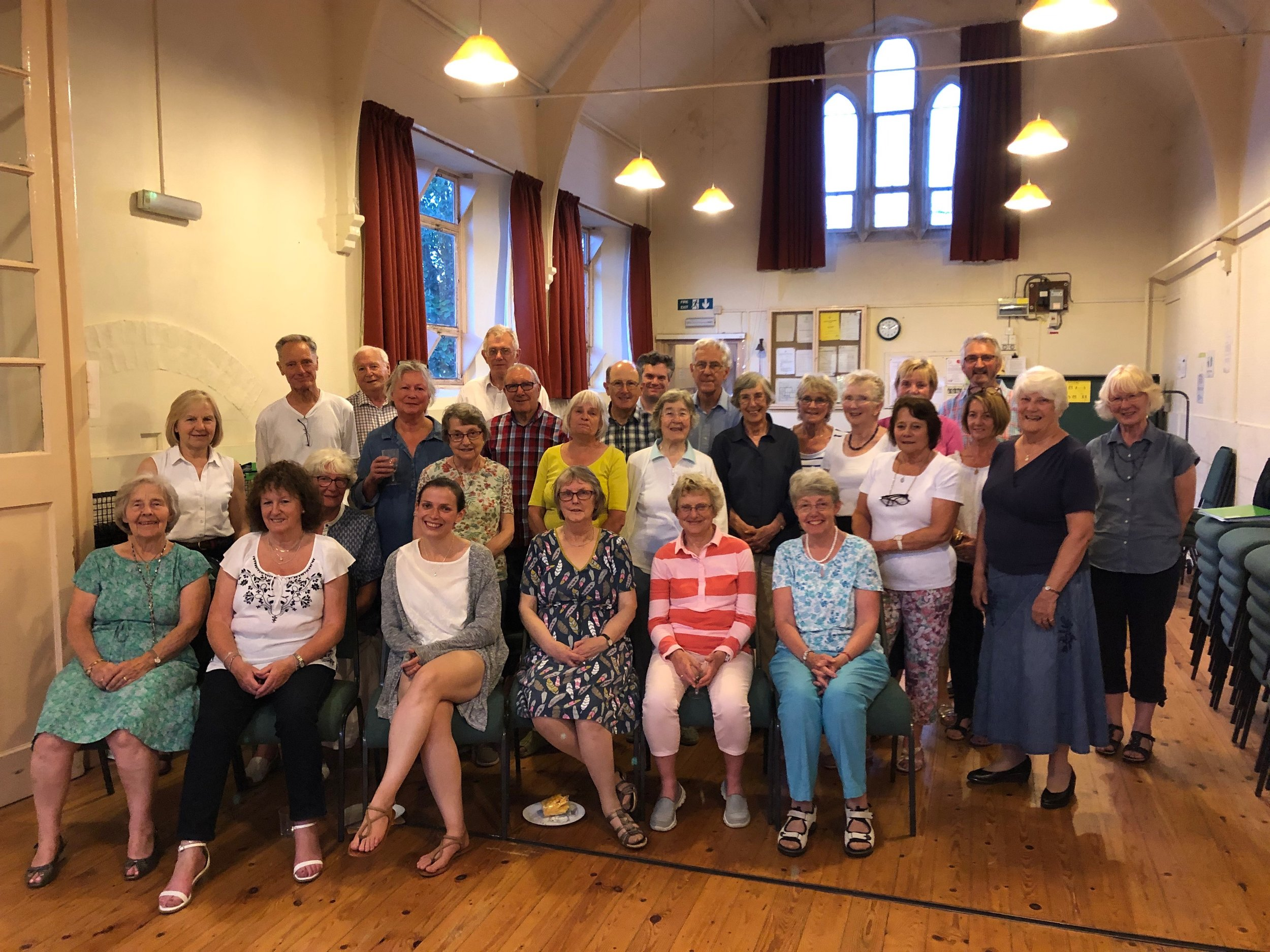 Jessica and the members of Greens Norton Community Choir on their final rehearsal before the Summer break of 2019