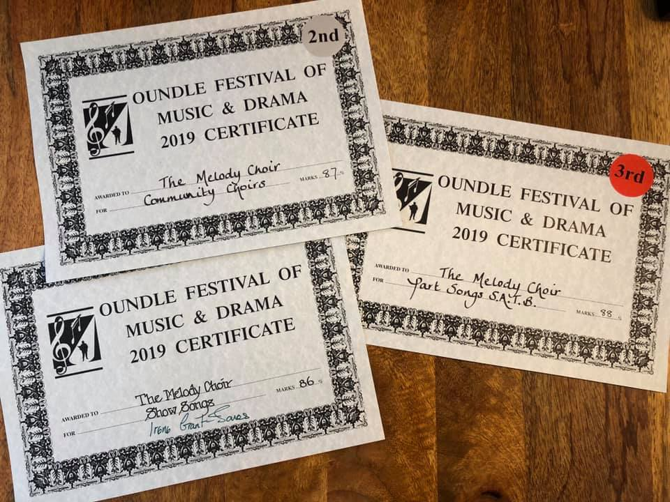 The Melody Choir's fantastic achievement at the Oundle Festival of Musical and Drama 2019. Praised for their beautiful blend and uniform vowels, thoughtful musical interpretation, and for simply thoroughly enjoying themselves from the minute they walked on stage!