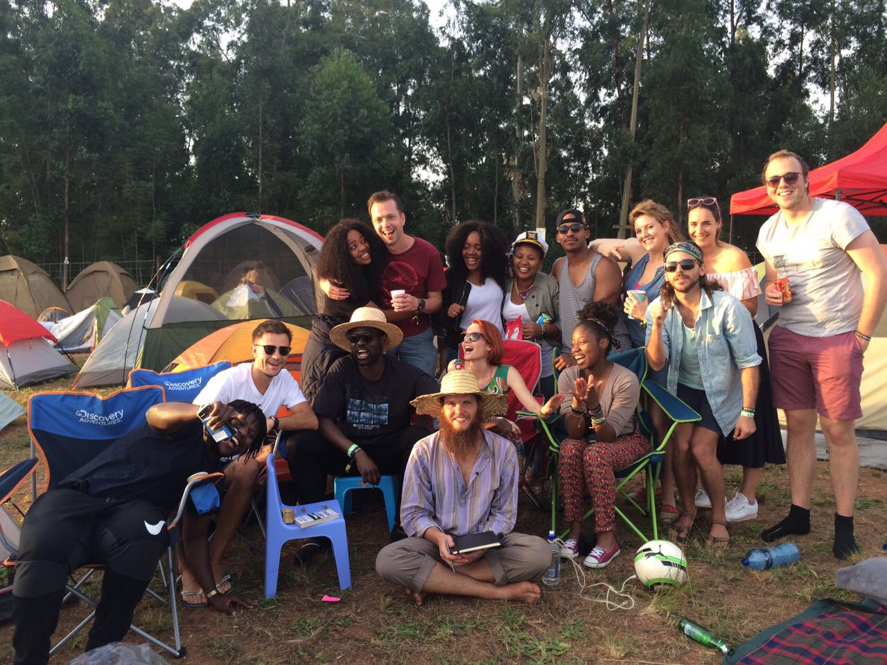 The group at the camping site at Bushfire Festival in Swaziland