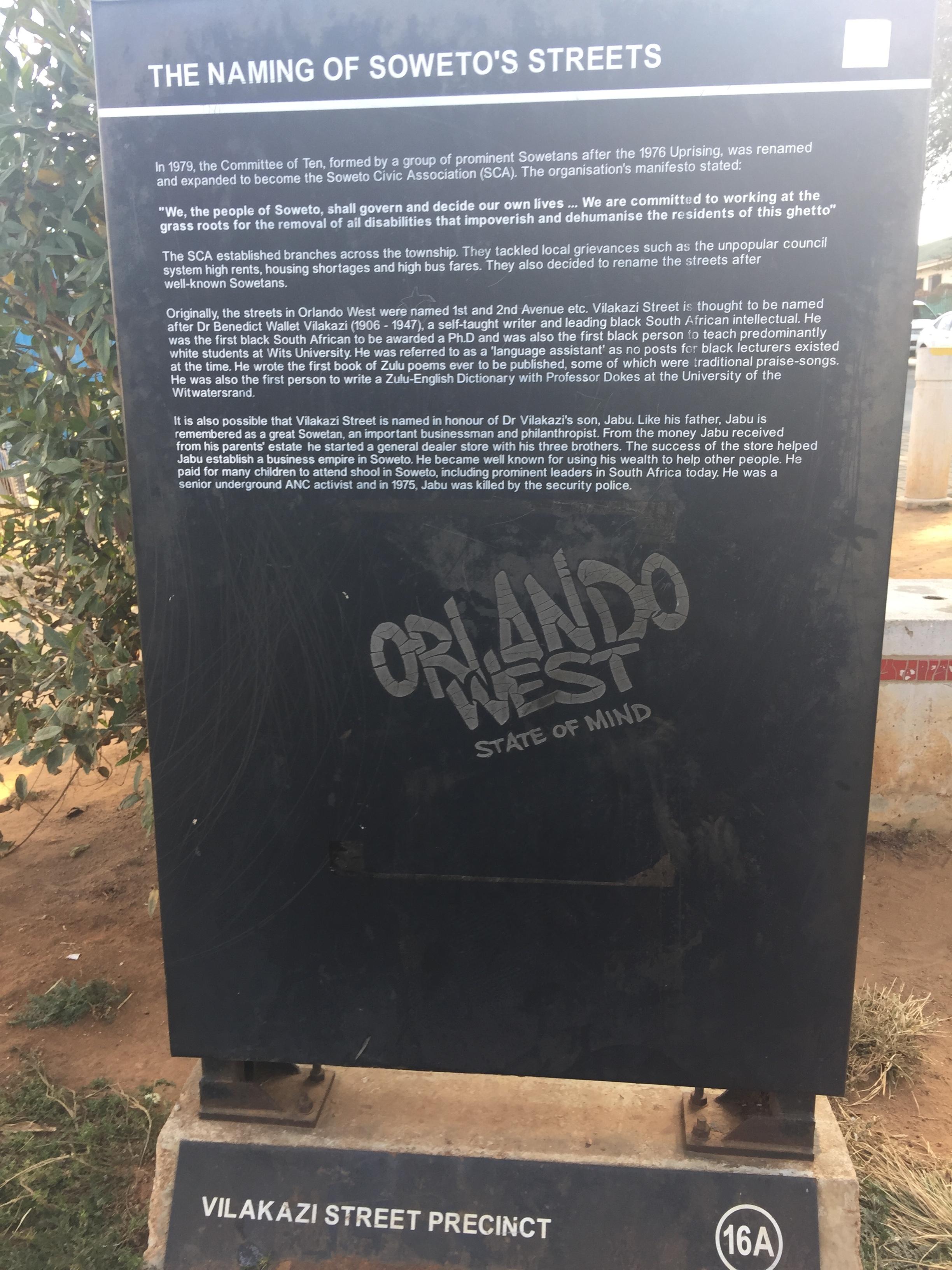 Sign at Vilakazi Street in Soweto