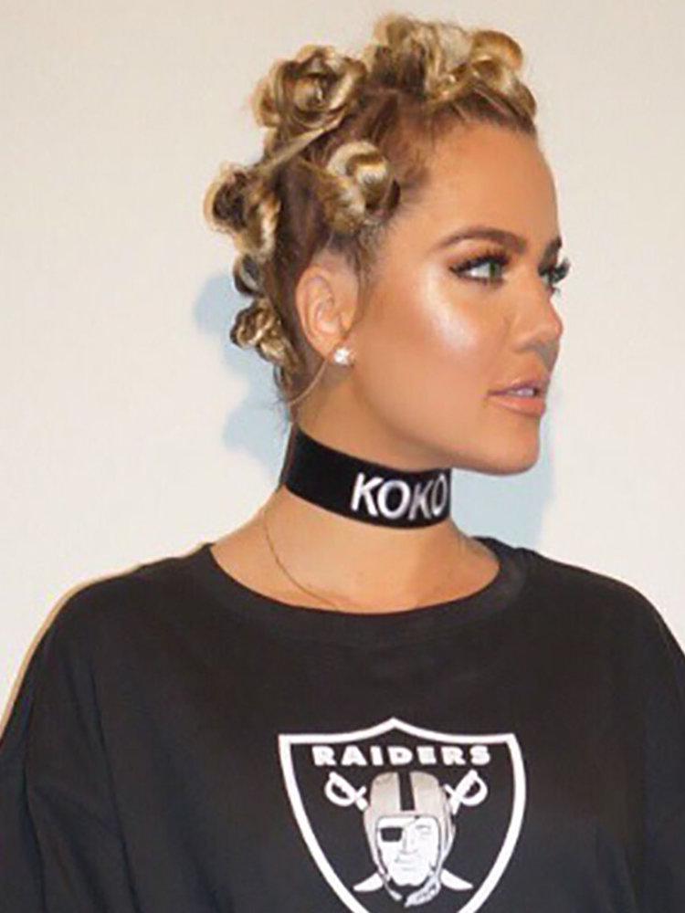 Khloe Kardashian sporting Bantu Knots