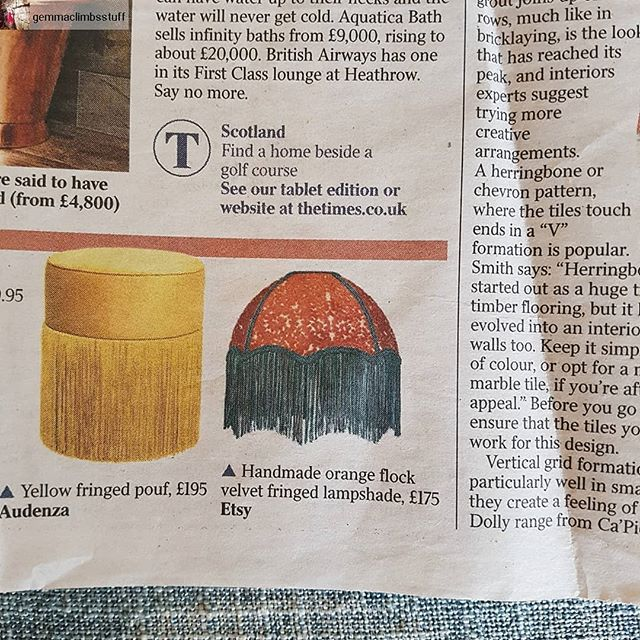 One of my lampshades was featured in @thetimes! Unfortunately they didn't name check my Etsy shop but this still sold pretty soon after the article came out. I had no idea until my mother in law sent the article in the post. . . . #lampshade #lampshademaker #fringe