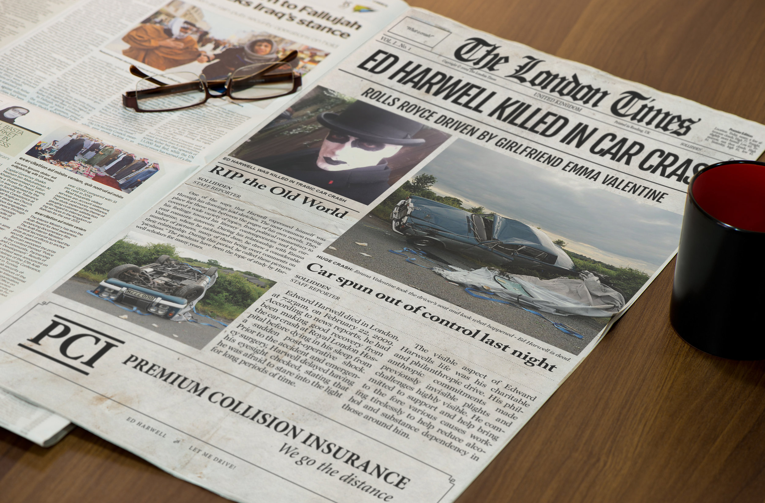 """The London Times   This satirical newspaper design was for a man in London, UK. It is about a man and his girlfriend getting involved in a car crash. Notice the ad at the bottom """"Premium Collision Insurance."""""""