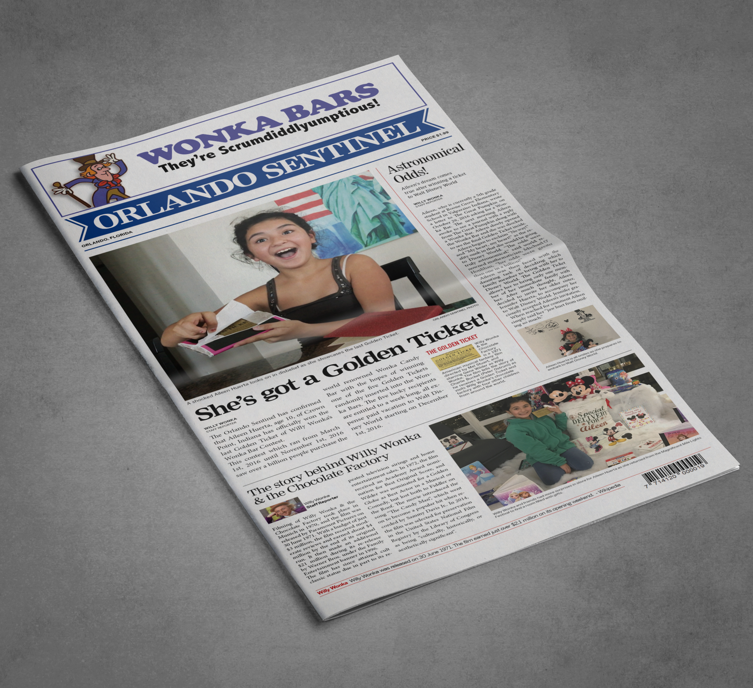 The Orlando Sentinel    This newspaper was designed for a girl who won the golden ticket - a trip to Walt Disney World in Orlando, Florida!