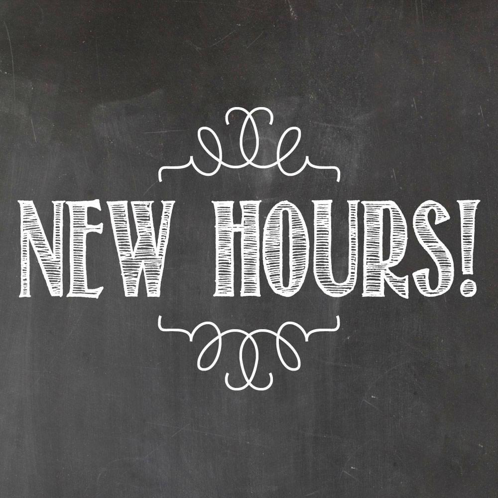 New Hours - Mon. 11 am - 9 pmTue. 11 am - 9 pmWed. 11 am - 9 pmThu. 11 am - 9 pmFri. 11 am - 9 pmSat. 11 am - 9 pmSun. CLOSED
