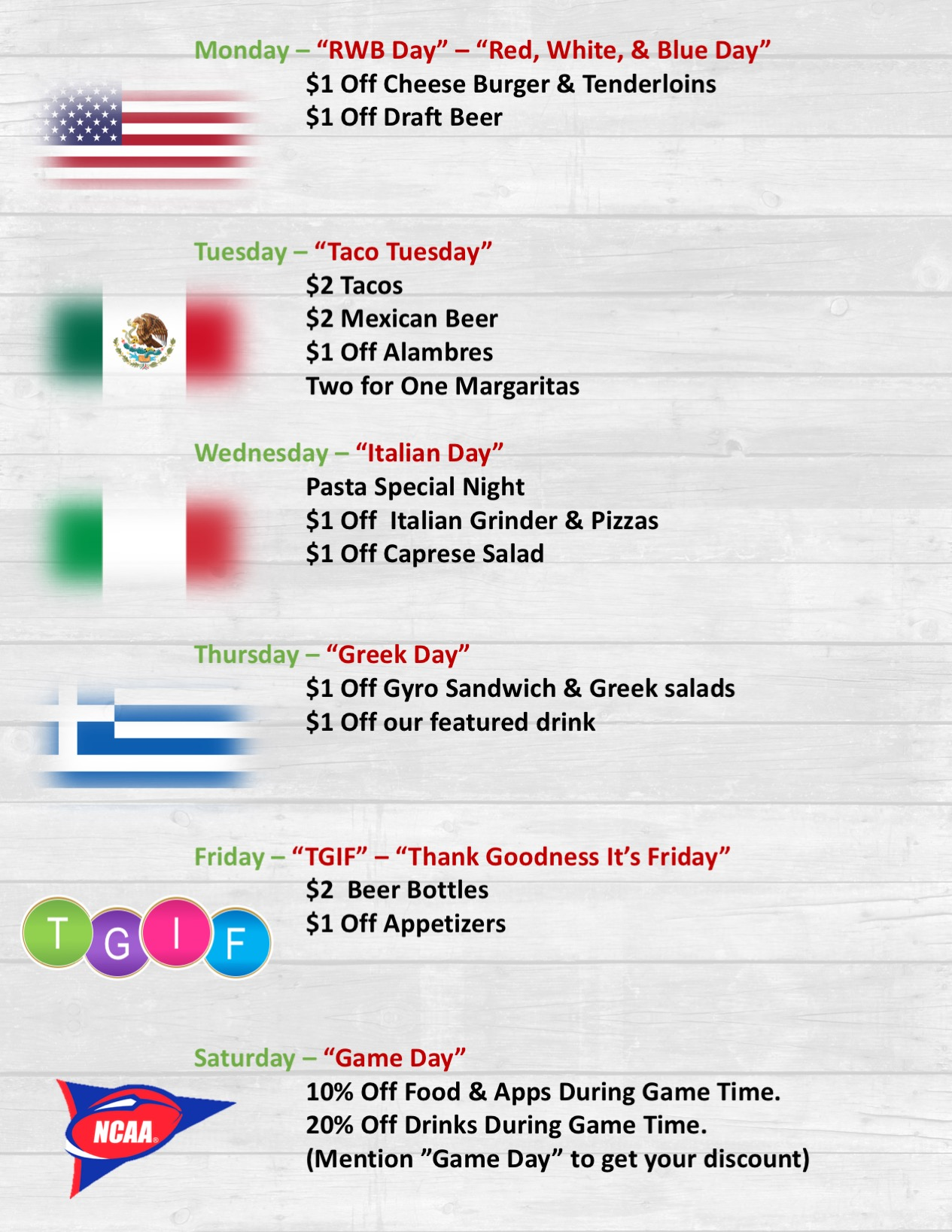 New Weekly Specials! - A new way to taste our International Flavors.Starting Sep. 7th 2018.