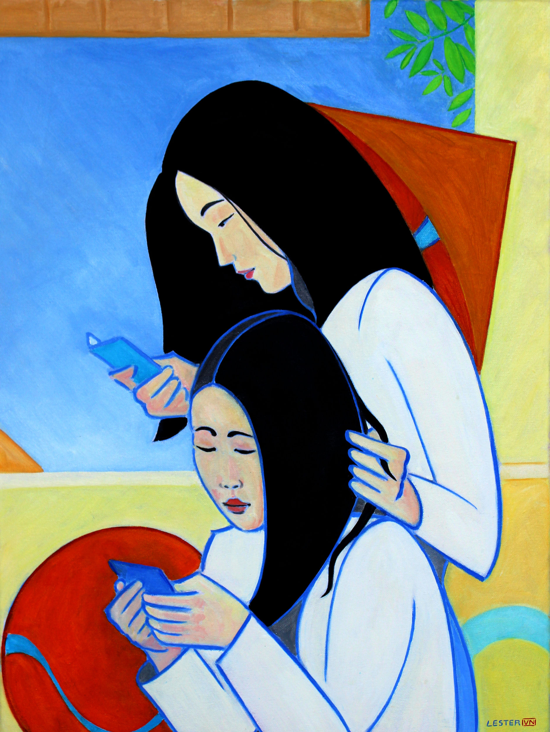 Ao Dai and Mobiles - Oil on canvas, 45 x 60cm