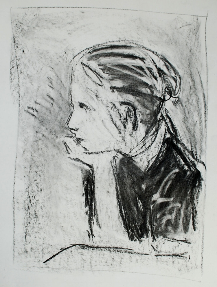Waiting. Charcoal Sketch