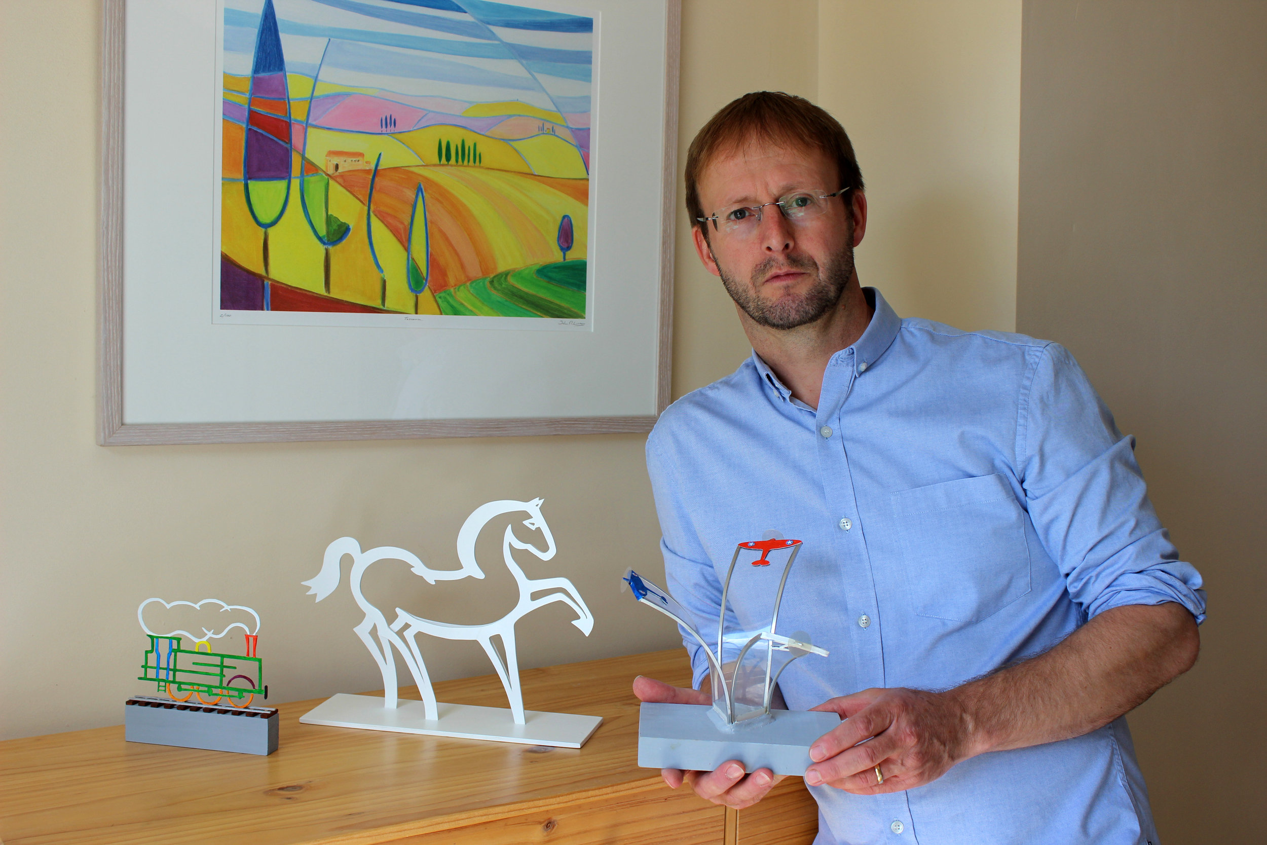 jOHN WITH HIS PROPOSED sCULPTURES FOR ASHFORD