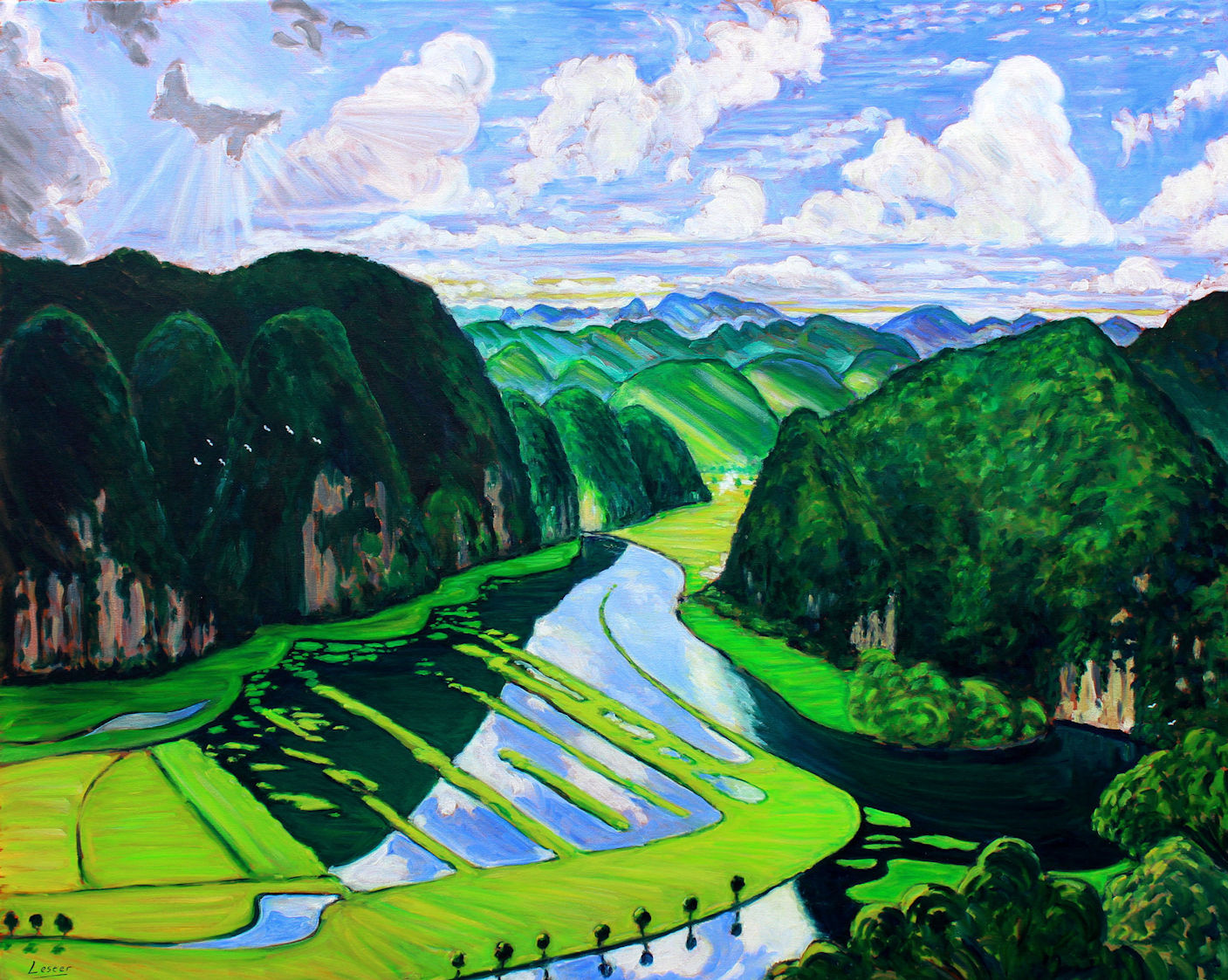 Mountains, Ninh Binh. After the Rain. Oil on canvas, 100 x 80cm. Sold