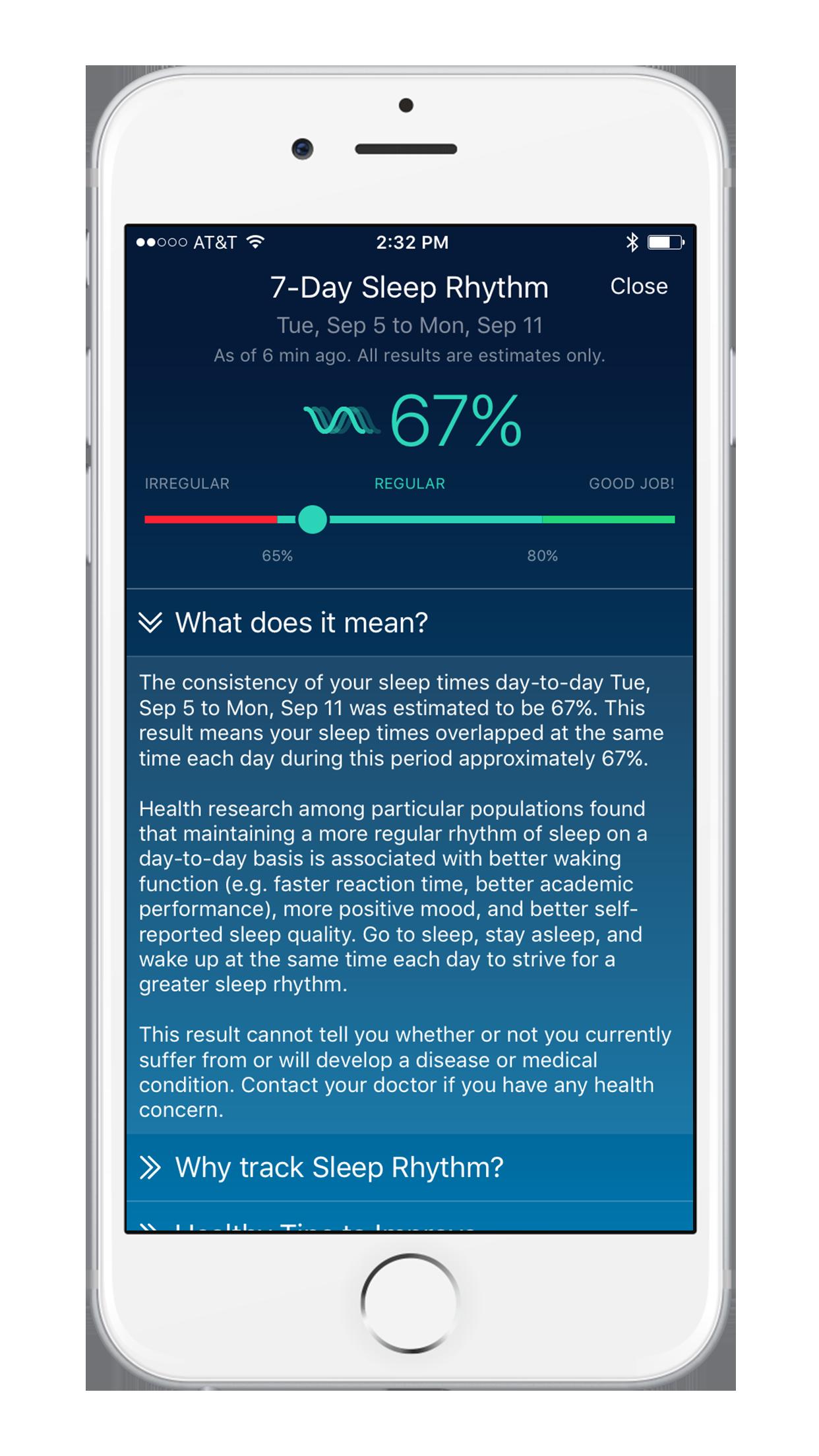 Sleep Watch Version 3 by Bodymatter on iPhone Sleep Rhythm Detail View