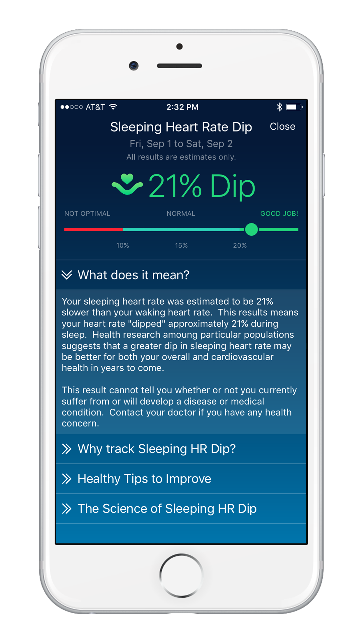 Sleep Watch Version 3 by Bodymatter on iPhone Sleeping Heart Rate Dip Detail View