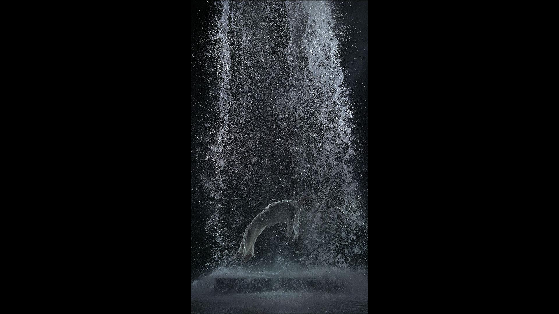 Bill Viola, Tristan's Ascension (The Sound of a Mountain Under a Waterfall) (2005). Video/sound installation. Performer: John Hay. Courtesy Bill Viola Studio. Photo: Kira Perov.