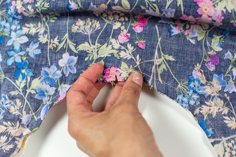 One is the blue floral fabric, and the other is the pink floral fabric.