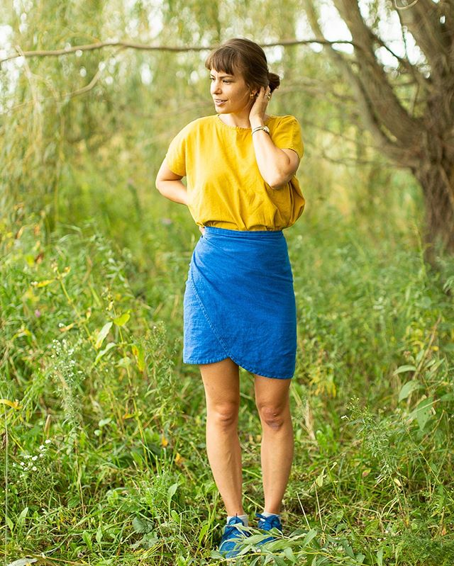 I'm honored to release another pattern, the #rosemarywrap! It comes with a curved hem and square hem option. I've been wearing versions of this skirt all summer, and I love how easy it is to sew and to wear. I love how it wraps you up and makes you feel confident and secure. An elegant, feminine confidence. 🌿 Join me in celebrating the release of this pattern by taking 20% now through Thursday! (No code needed ☺️)