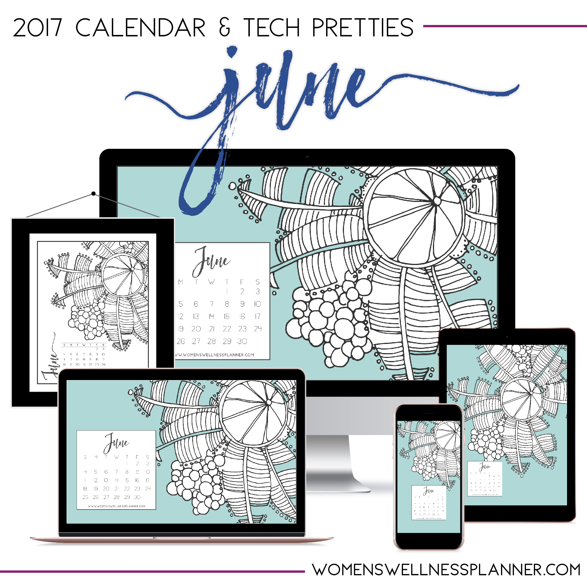 June 2017 Printable Calendar & Tech Pretties | Women's Wellness Planner