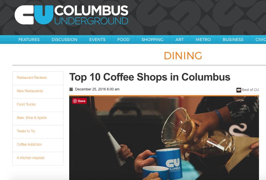 COLUMBUS UNDERGROUND - BEST COFFEE SHOP: '12, '13, '14, '15, '18