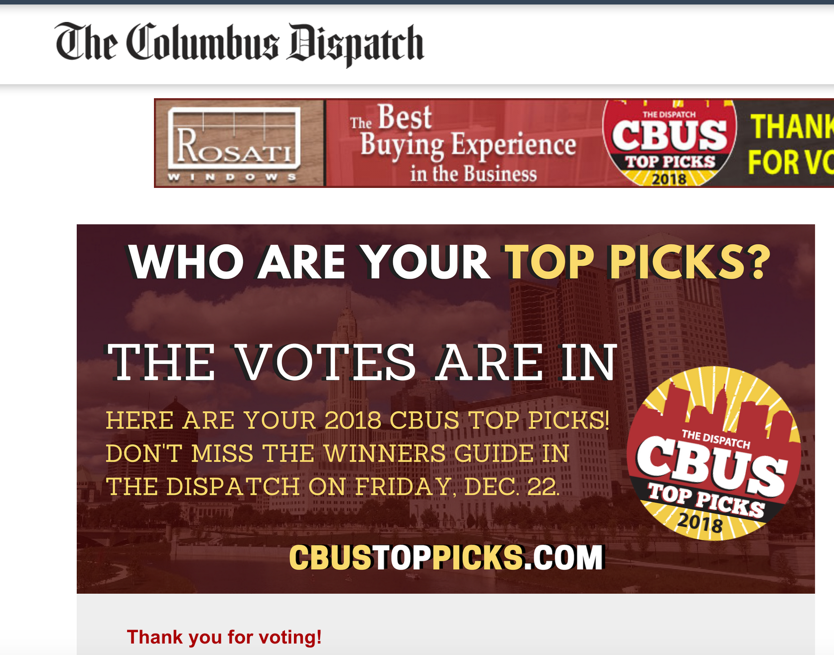 COLUMBUS DISPATCH CBUS TOP PICKS- BEST LOCAL COFFEE SHOP: '17, '18