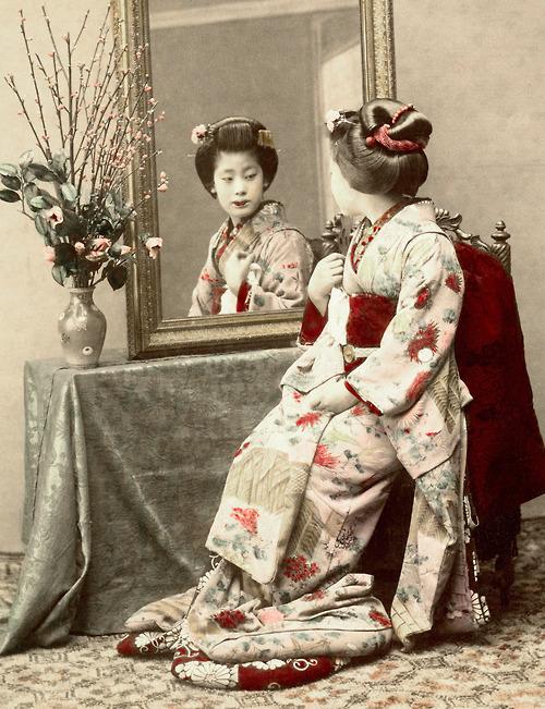 A Senior Maiko (Apprentice Geisha) wearing the Yakko Shimada hairstyle. 1880's, Japan
