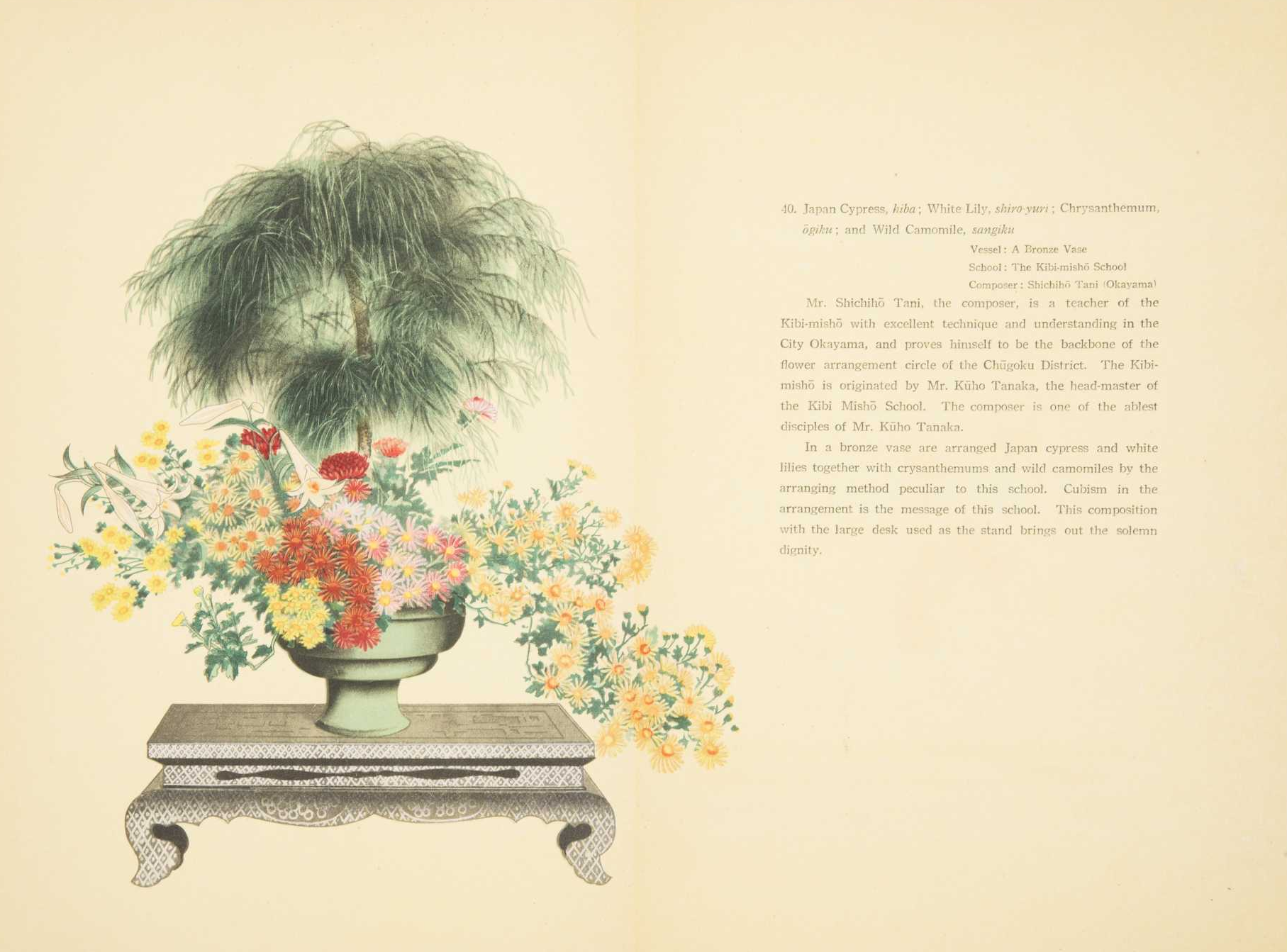 Select Flower Arrangements of Moribana & Heikwa. Edited by Kasuke Murakami, Explained by Mitsuharu Hashizume.  Printed and made in Japan by Jigyokudo Yamanaka & Co. Inc. 1936  http://www.thecobbs.com/auction-2017-01-14-lot-84A.html